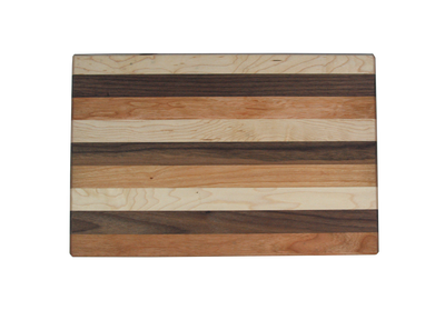 Mixed Hardwood Reversible Cutting Board Cherry Maple Walnut 13 x 9 Made in USA