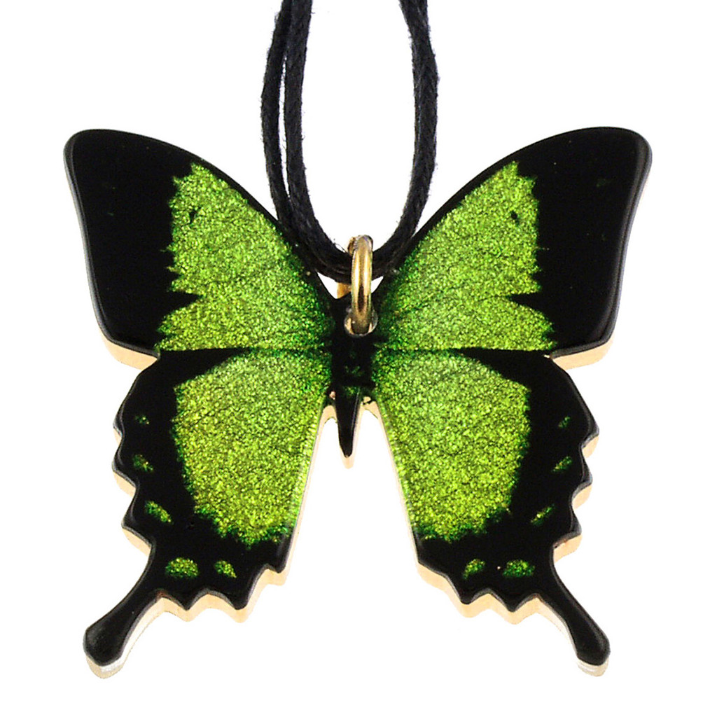 4161-7 - Full Green Swallowtail Butterfly Pendant on Cord