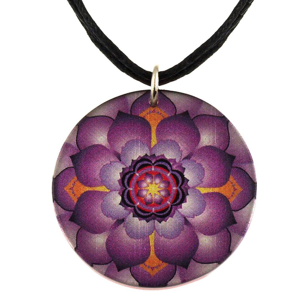 14130-6 -  Upcycled Small Purple Lotus Flower Pendant On Cord