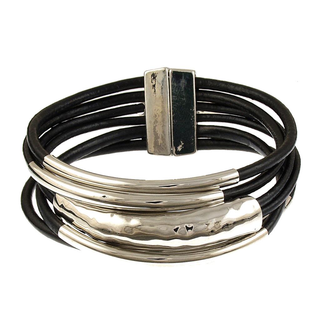 6105-4 - Rhodium/Black Tube Magnetic Bracelet