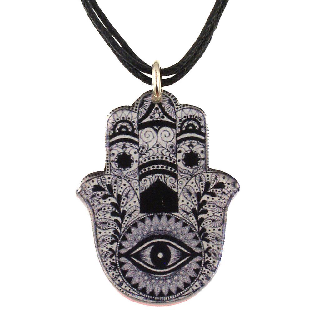 4027-2 - Upcycled Black and White Hamsa Pendant