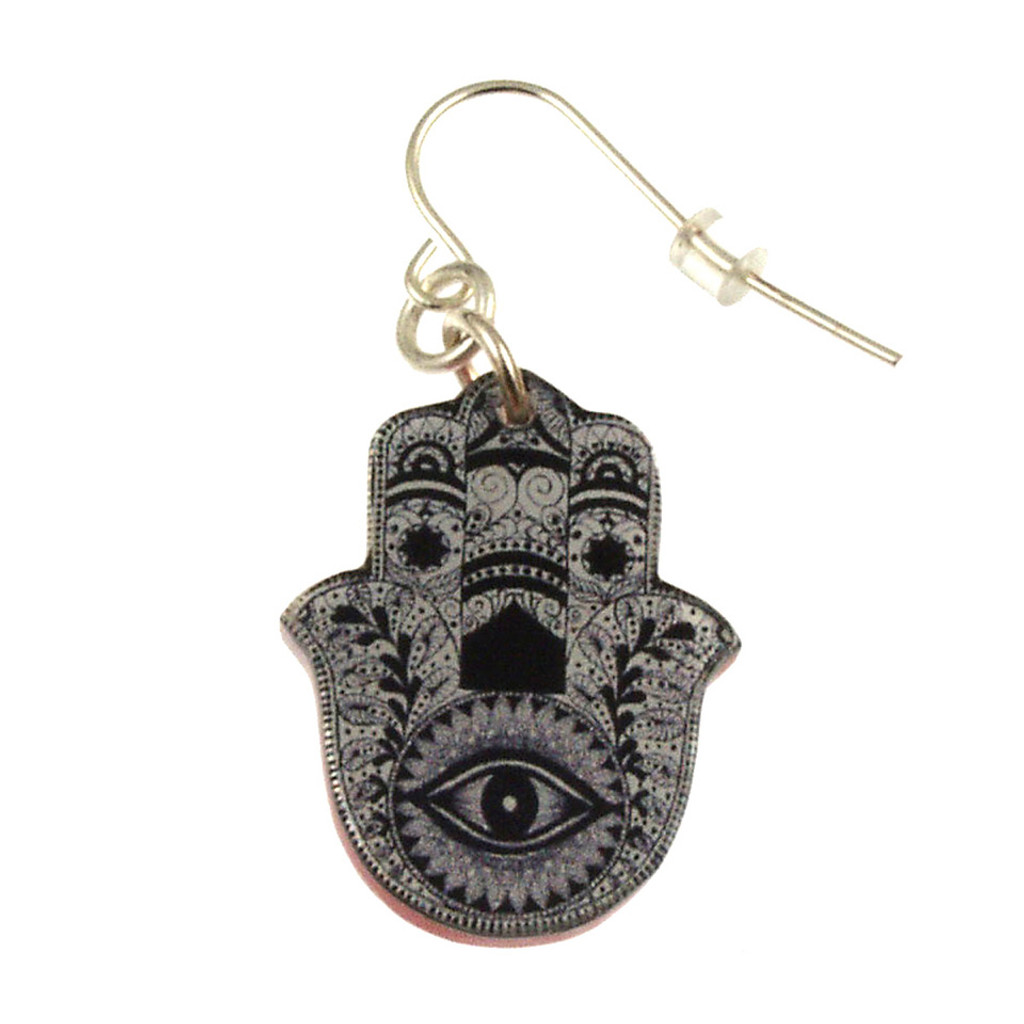 4026-2 - Upcycled Black and White Hamsa Earring