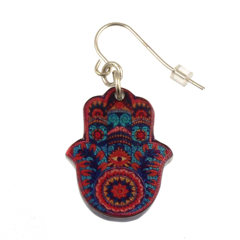 4026-1 - Upcycled Red Hamsa Earring