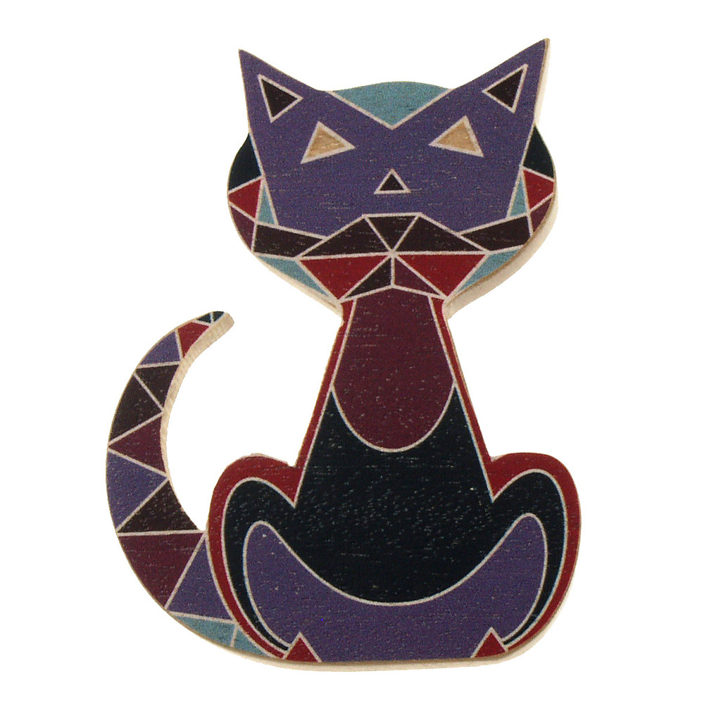 4023-2 - Red Cat Wood Brooch