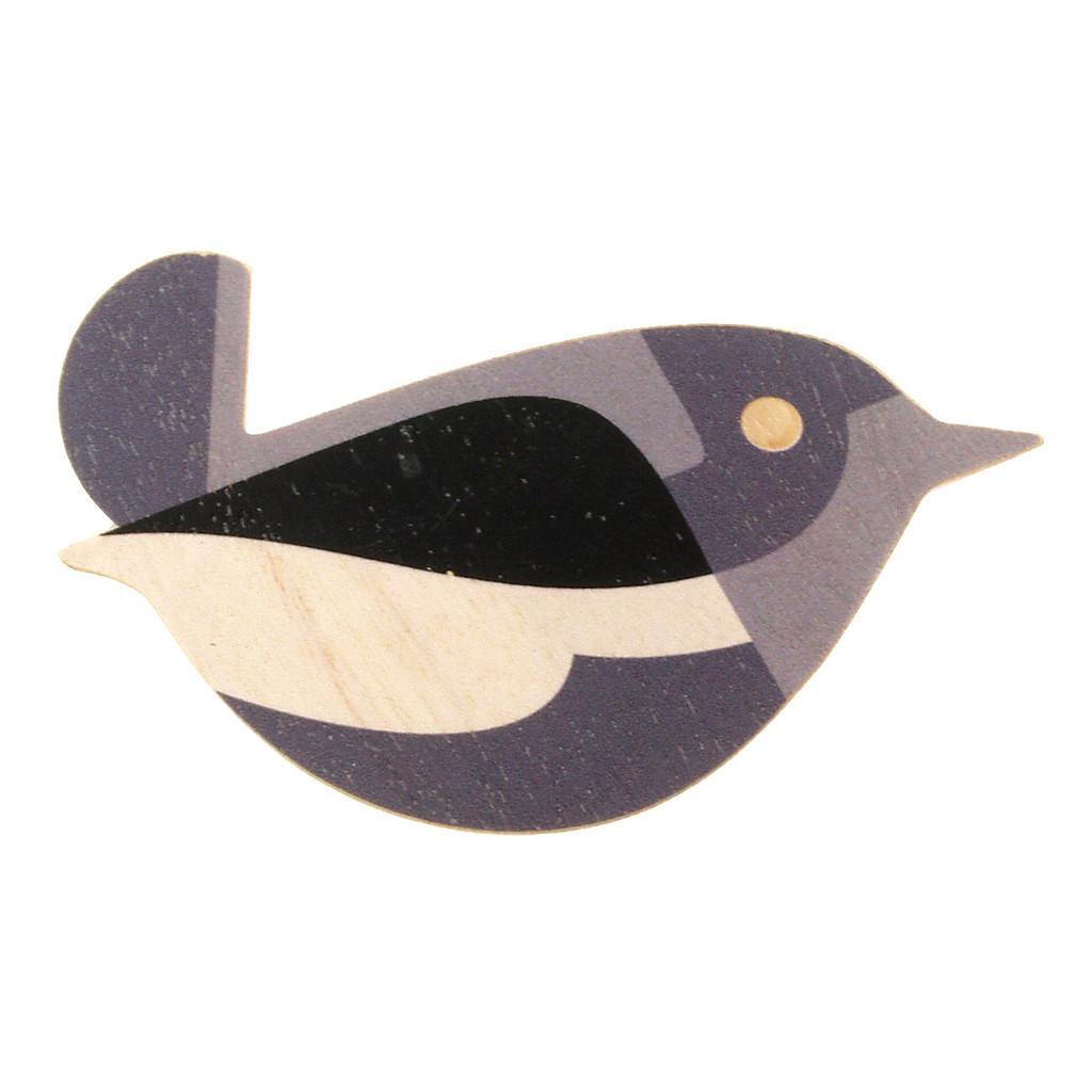 4020-3 - Grey Bird Wood Brooch