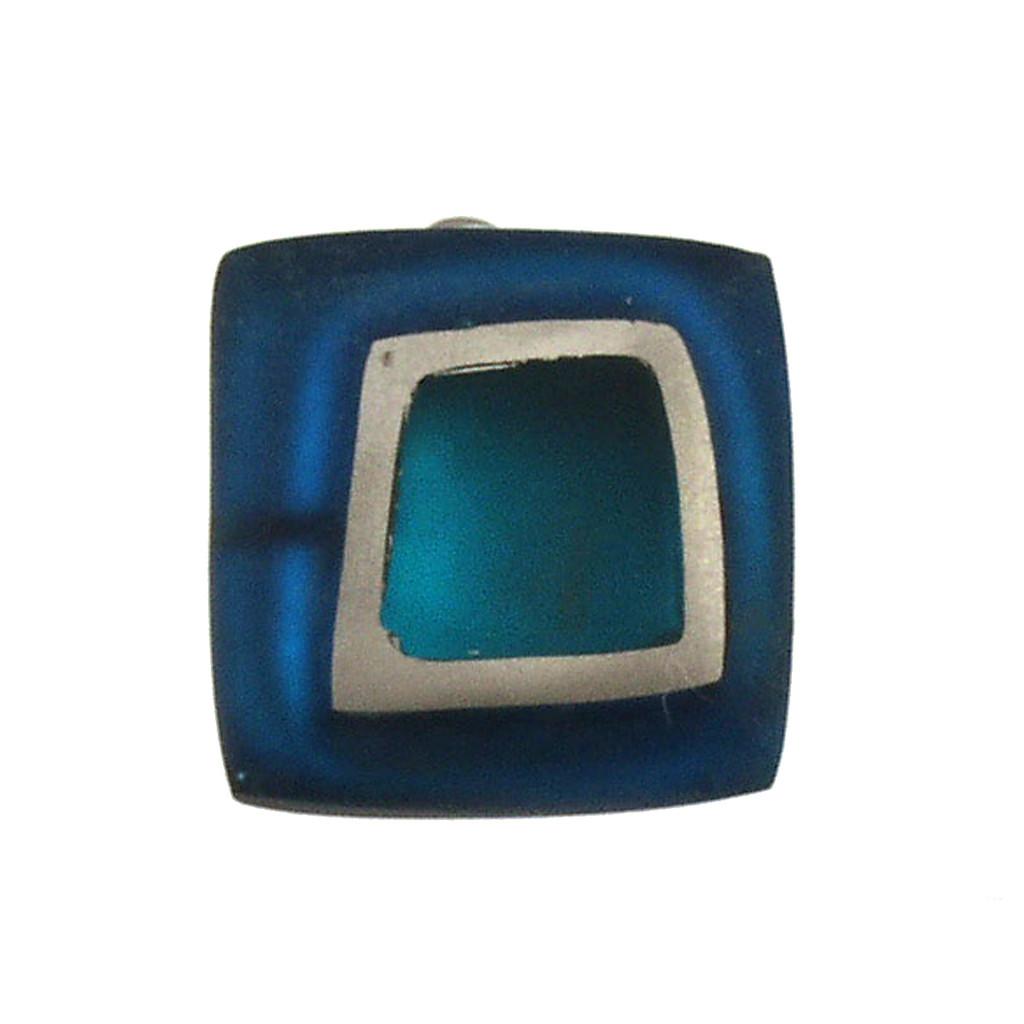 1873-2 - Irregular Squares Clip Earring Blue