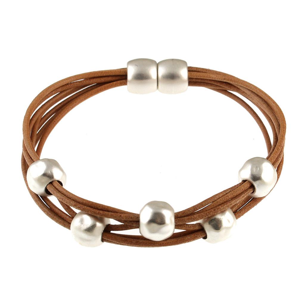 6140-65 - Matte Silver/Camel Magnetic Bracelet
