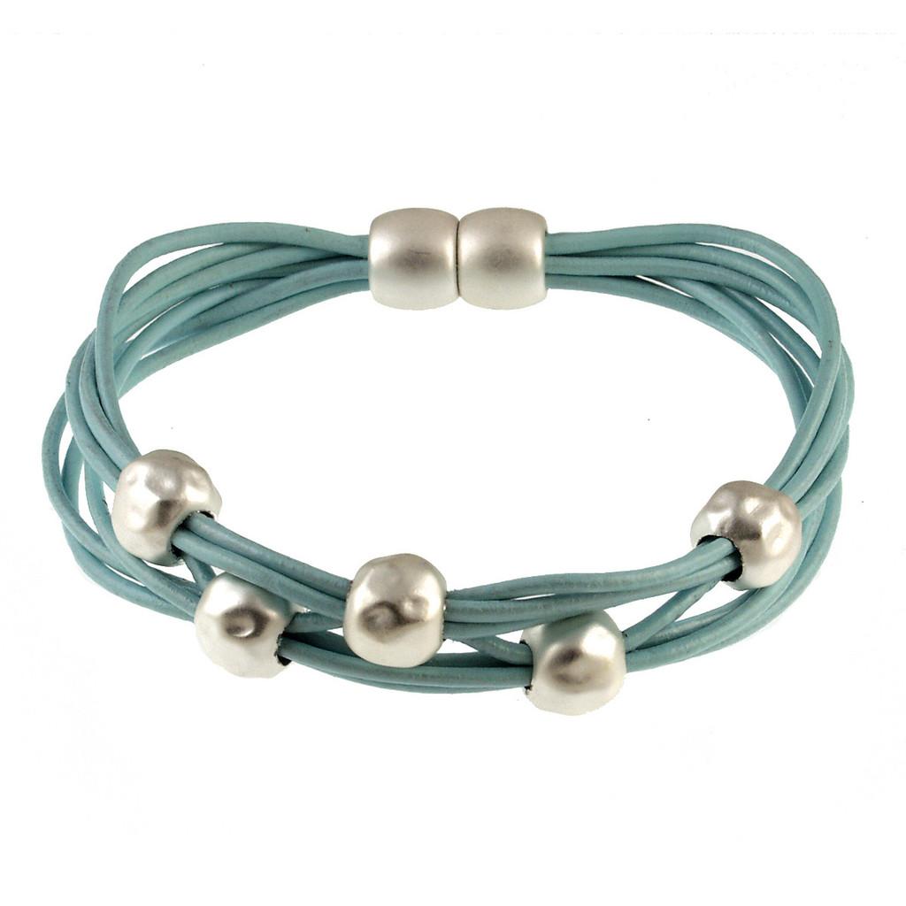 6140-106 - Matte Silver/Light Blue Magnetic Bracelet