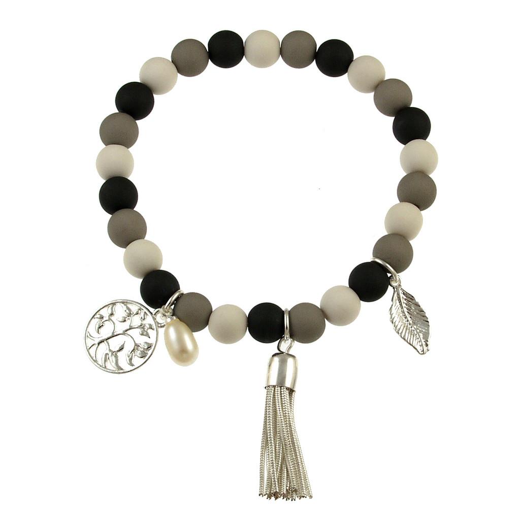 102-9 - Stretch Resin Grey CombI Bracelet