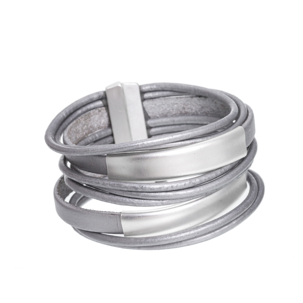 6150-1 - Matte Silver/Grey Large Stack Magnetic Bracelet