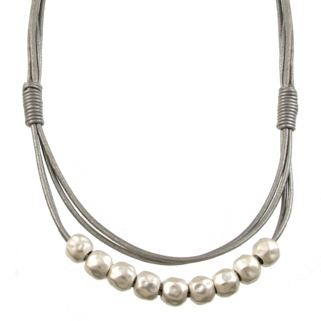 5089-1 - Matte Silver/Grey Magnetic Clasp Necklace