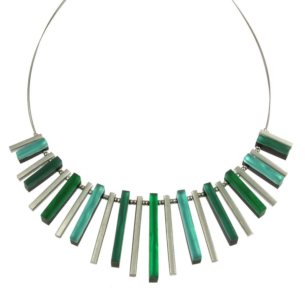 2300-3 - Square Sticks Necklace Emerald