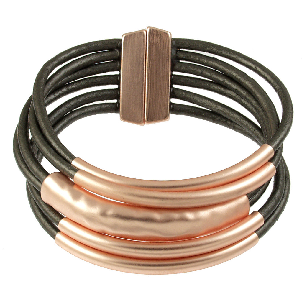 6105-63 - Matte Rose Gold/Grey Magnetic Bracelet