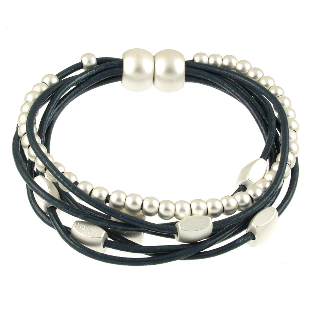 6156-118 - Matte Silver/Navy Mini Squares Magnetic Leather Bracelet
