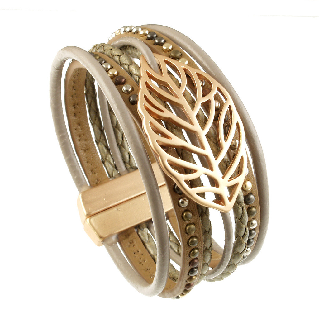 6193-87 - Matte Gold/Taupe Autumn Leaf Magnetic Bracelet
