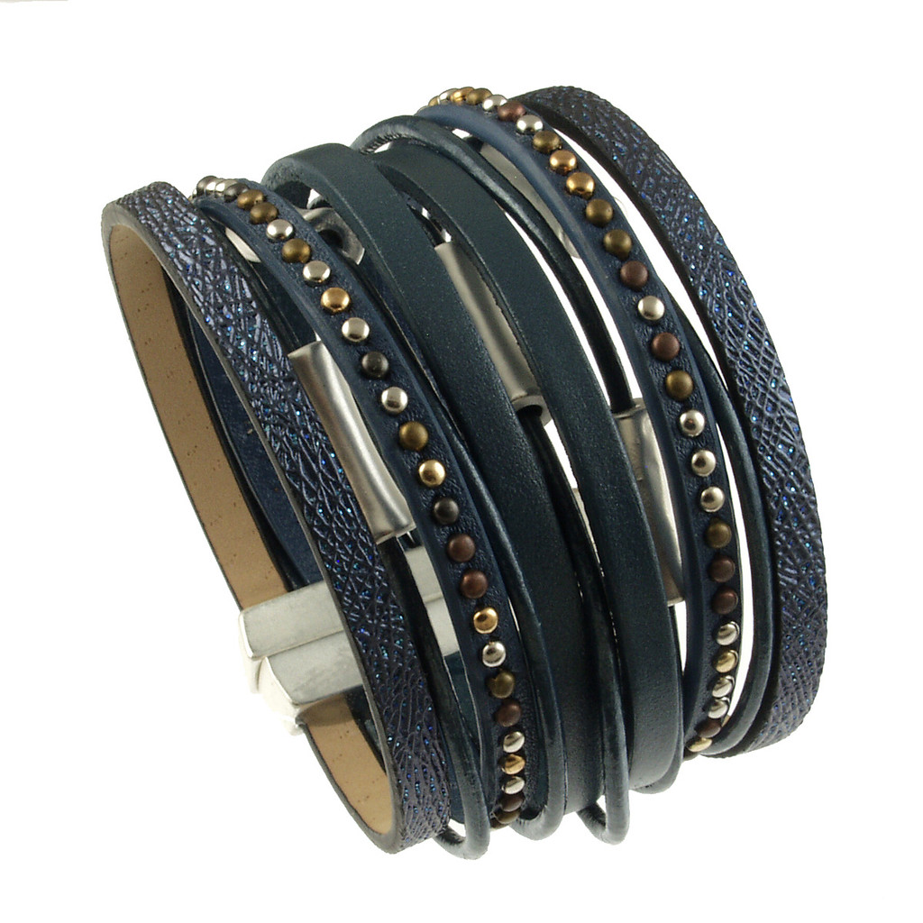 6898-118 - Matte Silver/Navy Wide Band Magnetic Bracelet