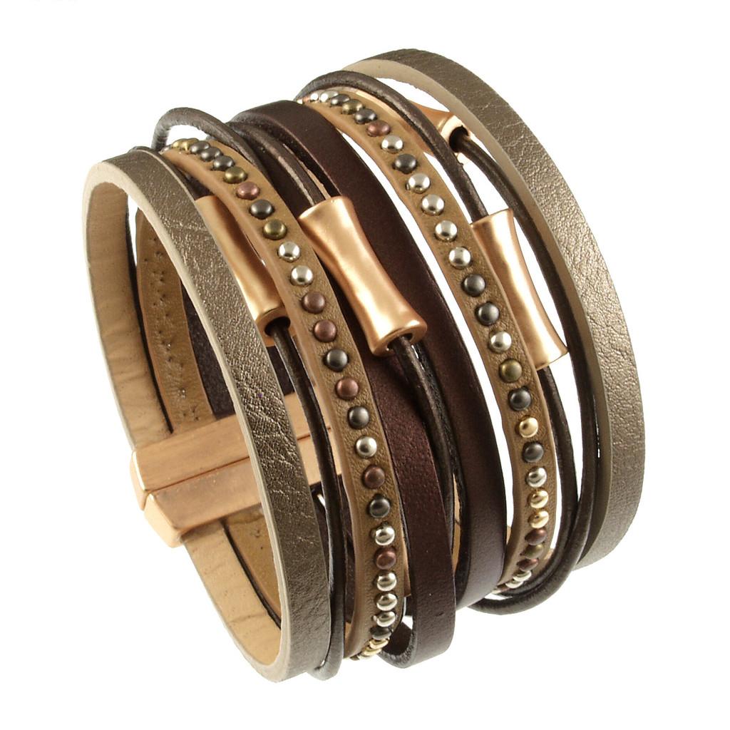 6898-59 - Matte Gold/Metallic Copper Wide Band Magnetic Bracelet