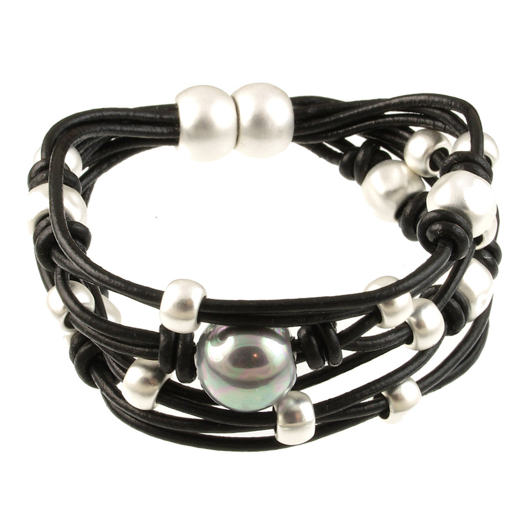 6641-4 - Matte Silver/Black With Grey Pearl Magnetic Bracelet