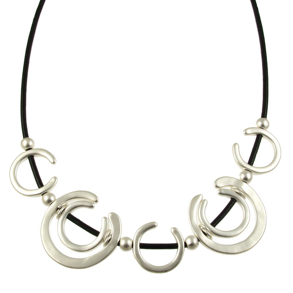 5125-4 - Matte Silver/Black Horseshoe Magnetic Necklace