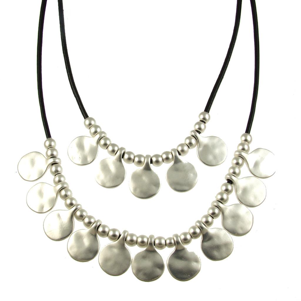 5113-4 - Matte Silver/Black Gypsy Necklace