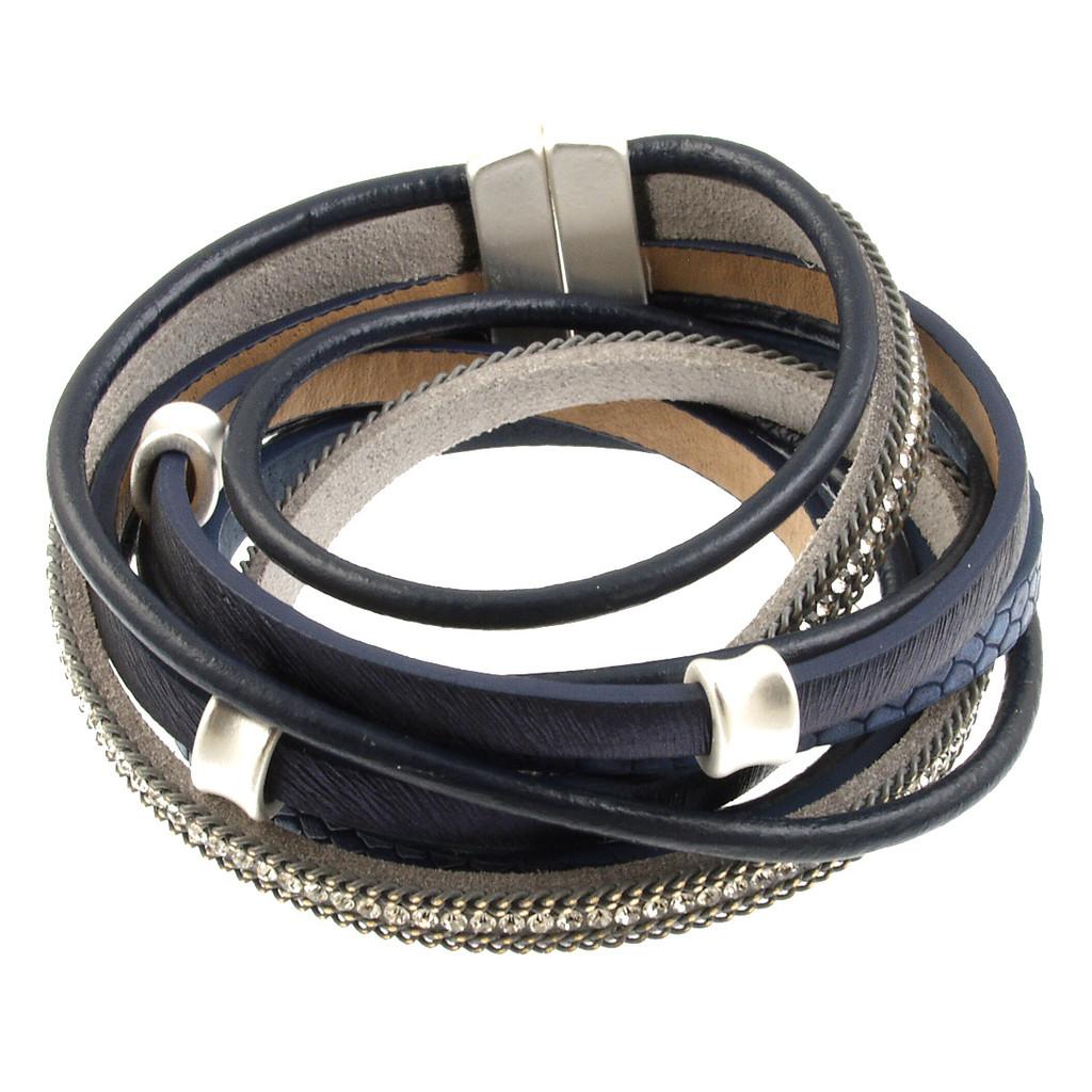 6165-118 - Matte Silver/Blue Wrap Magnetic Bracelet