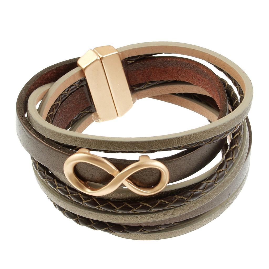 6784-59 - Infinity Braid Bracelet Gold/Metallic Brown