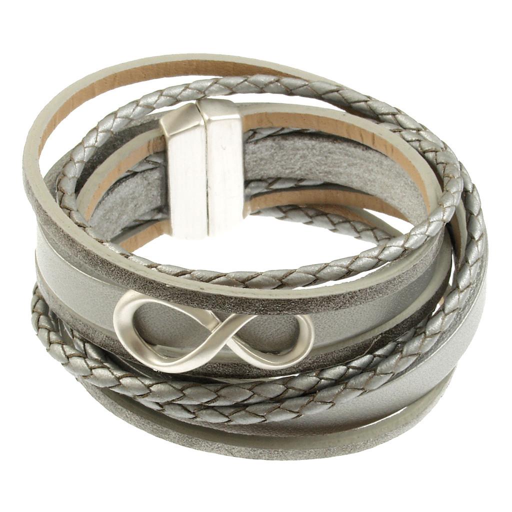 6784-1 - Infinity Braid Bracelet Silver/Grey
