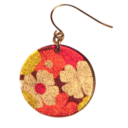 4120-68 -  Red and Yellow Floral Earrings