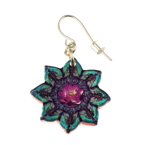 14120-71 -  Upcycled Flower Shaped Kaleidoscope Pattern Earrings