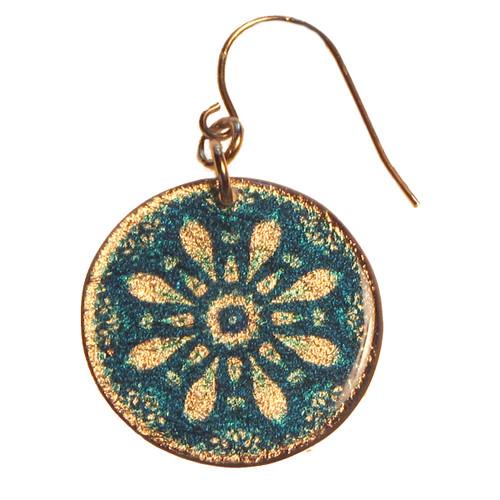 4120-76 -  Blue Floral Kaleidoscope Pattern Earrings