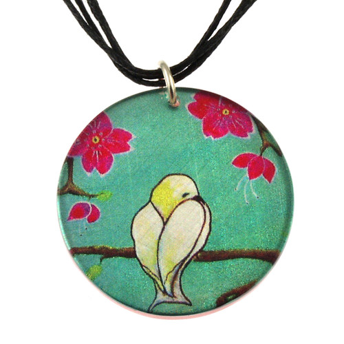 14130-67 -Upcycled Yellow Bird Pendant On Cord