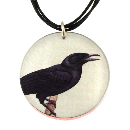14130-103 - Upcycled Black Raven Pendant On Cord