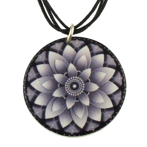 14130-111 - Upcycled Lotus Pendant On Cord