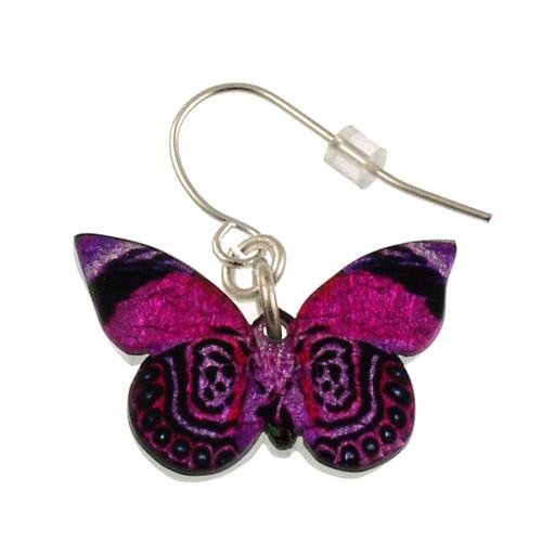 """4124-6 -Fantasy Pink Full Butterfly Earring 1""""W"""