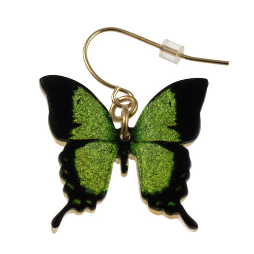 "4124-7 -Green Swallowtail Full Butterfly Earring 1""W"