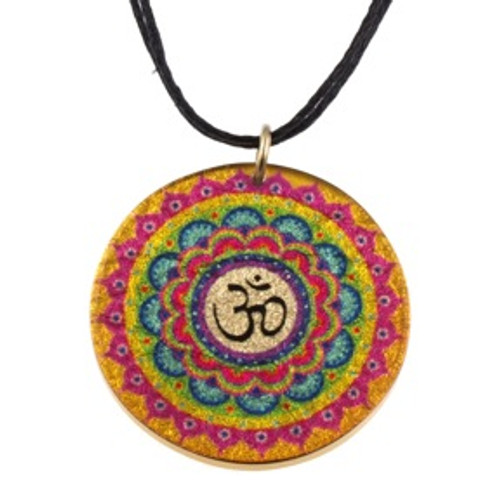 4130-133 - Multi Color Om Pendant on Cord