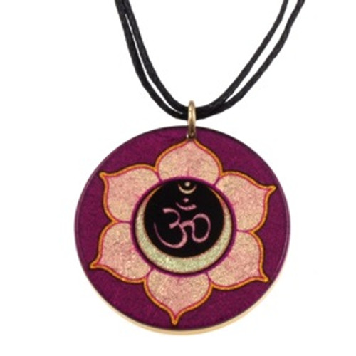 4130-132 - Purple Lotus Om Pendant on Cord