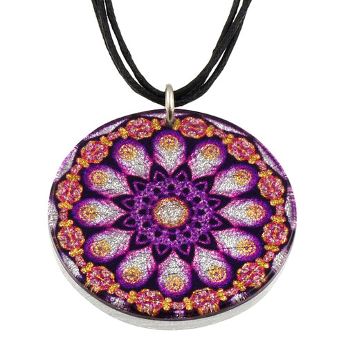 4130-140 - Purple Peacock Pendant on Cord