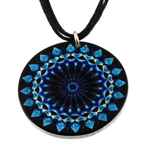4130-136 - Mosaic Blue Kaleidoscope Pendant on Cord