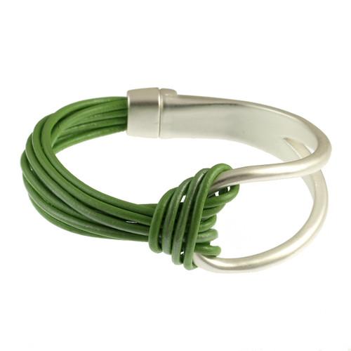 6065-104 - Matte Silver/Green Leather Magnetic Bracelet