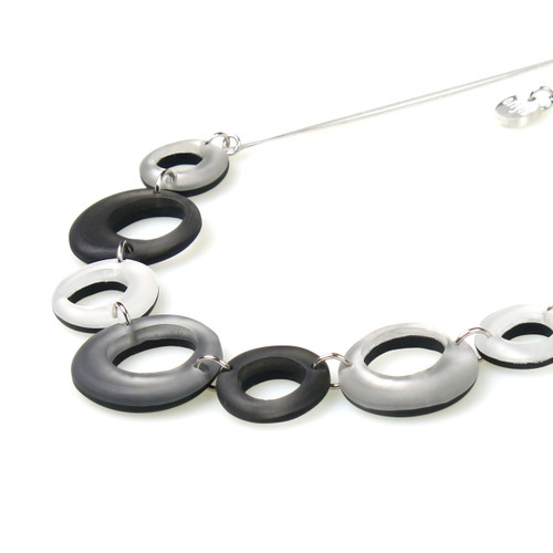 1723-9 - Hollow Circles Necklace Steel Combi