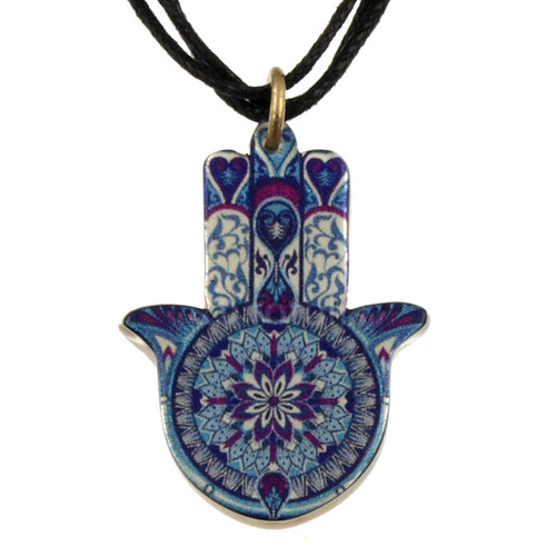 4027-4 - Upcycled Blue and Purple Hamsa Pendant