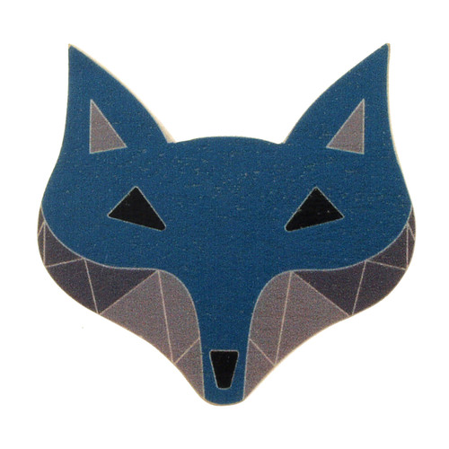 4024-1 - Blue Fox Wood Brooch