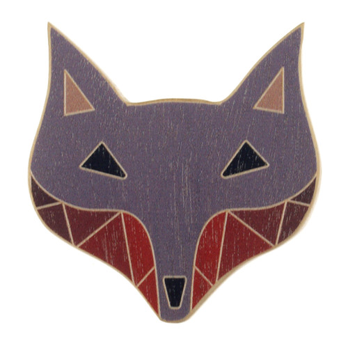 4024-4 - Grey Fox Wood Brooch