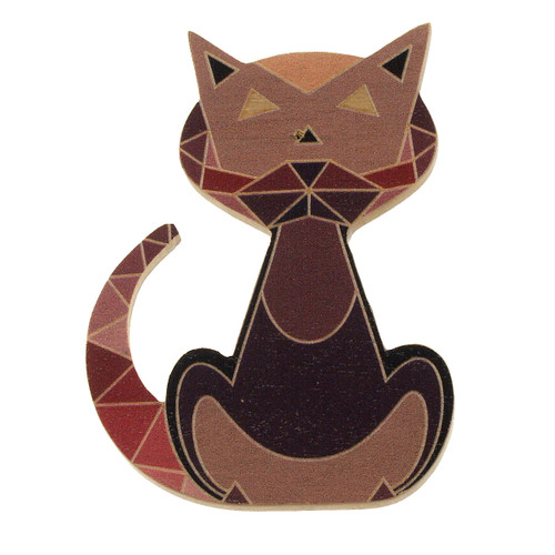 4023-4 - Brown Cat Wood Brooch