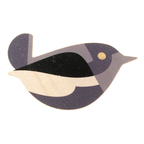 4020-3 - Grey Bird Wood Brooch