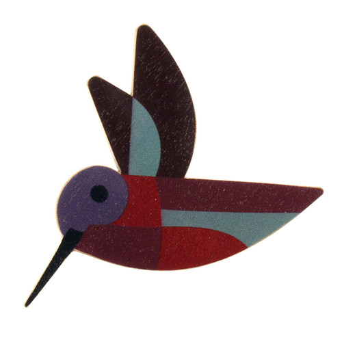 4021-2 - Red Hummingbird Wood Brooch