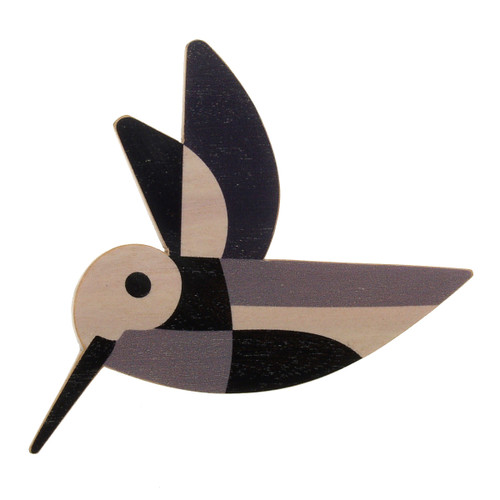 4021-3 - Grey Hummingbird Wood Brooch