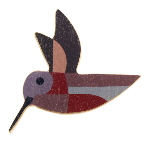 4021-4 - Mauve Hummingbird Wood Brooch