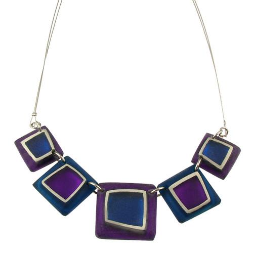 1868-21 - Irregular Squares Necklace Purple Combi